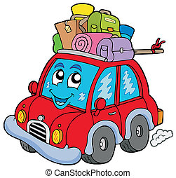 Cute car with baggage - vector illustration.