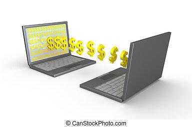 Two laptops transfer money