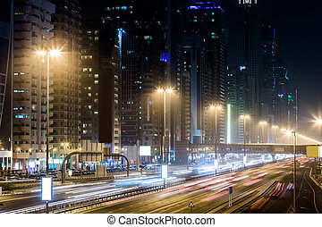 Dubai Dowtown at ngiht, United Arab Emirates - View of...