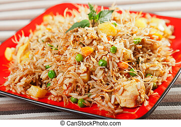 Chicken Biryani, typical indian food recipe, cooked