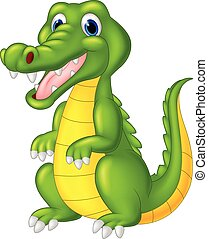 Cartoon cute crocodile - vector, adorable, alligator,...