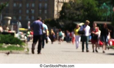 Pedestrians In Downtown.