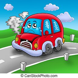 Broken cartoon car on road - color illustration.