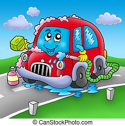 Cartoon car wash on road - color illustration.