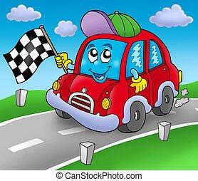 Car race starter on road - color illustration.