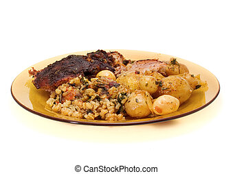 Roast Lamb with Potatoes and Rice