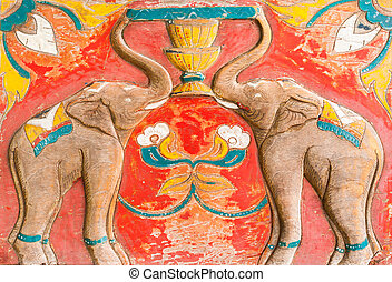 Carved Thai of elephant on the wood