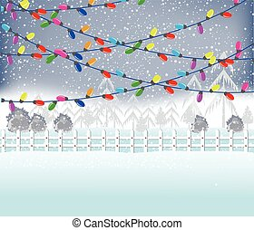Christmas Lights - Merry christmas with Colourful Glowing...