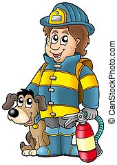 Firefighter with dog and extinguisher - color illustration.