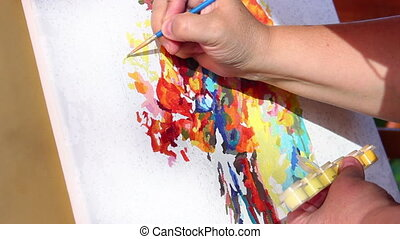 Painter - Close up hand of woman painter