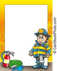 Fire protection frame with fireman - color illustration.