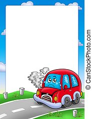 Frame with broken cartoon car - color illustration.