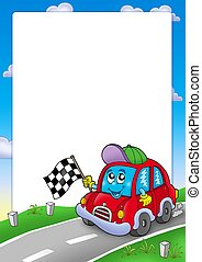 Frame with car race starter - color illustration
