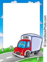 Frame with cute delivery car - color illustration