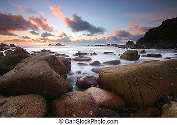 Sunset at Cot Valley Cornwall UK - The sun sets with...