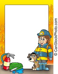 Frame with firefighter and dog - color illustration.