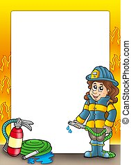 Frame with firefighter girl - color illustration.