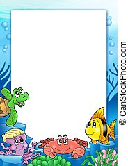 Frame with various sea animals - color illustration