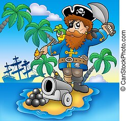 Pirate shooting from cannon - color illustration.