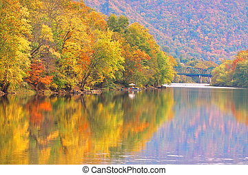 Autumn reflections in Kanawha river West Virginia