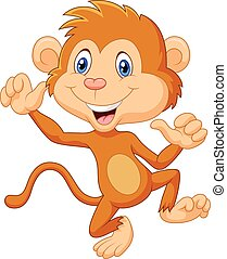 Cartoon monkey waving and dancing