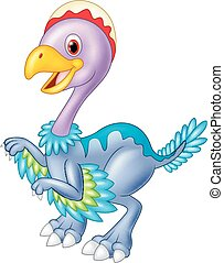 Cartoon baby dinosaur archaeopteryx - vector, adorable,...