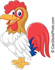 Cartoon chicken rooster posing - vector, action, animal,...