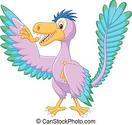 Cartoon archaeopteryx waving - vector, adorable, anchiornis,...