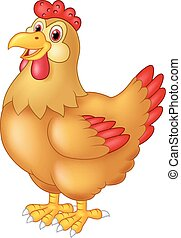 Chicken hen cute posing - vector, agriculture, animal, barn,...
