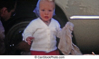 1951: Baby girl helping wash family - Unique vintage 8mm...