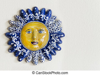 Mexican Talavera Ceramic Sun Face With Room for Text -...