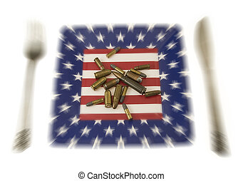 american breakfast - different ammunition on an american...