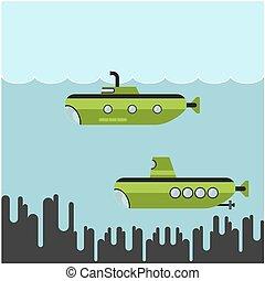 Submarinos,  vector, Ilustración