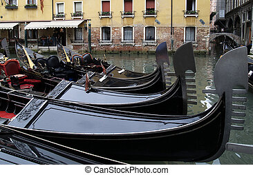 Gondolas in Venice - Gondola parking near San Marco fun...