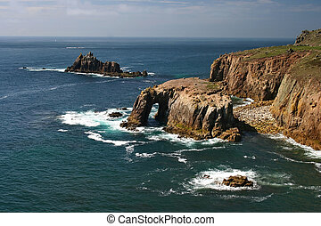 Enys Dodnan and armed Knight Lands End Cornwall - This...