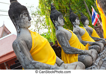 Wat Yai Chaimongkhon, Ayutthaya - Close up of Buddha statues...