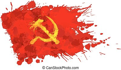 Red flag with hammer and sickle made of colorful splashes