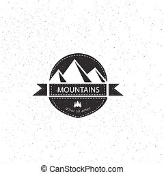 Mountain sticker design element in vintage style. Label, logo, badge and other design. Retro vector illustration.
