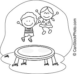 kids playing trampoline
