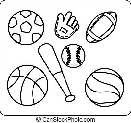 sports equipment coloring pages | Sport equipment Vector Clipart Royalty Free. 97,688 Sport ...