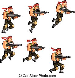 Commando Game Animation Sprite - Vector Illustration...