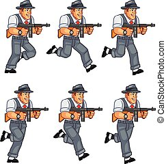Mobster Animation Sprite - Vector Illustration of Male Retro...