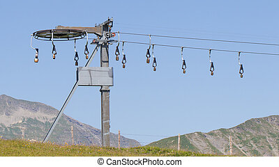 Alps cowbells on a skilift, entertainment in summer,...