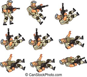US Soldier Animation Sprite - Vector Illustration of US...