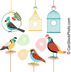 Song birds with speech bubbles and birdcages Colored vector...