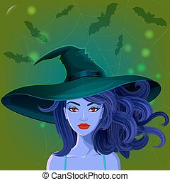 Halloween beautiful witch in pointy hat against spiderweb...