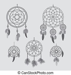 Vector dream catcher Hand drawn vector dream catchers for...