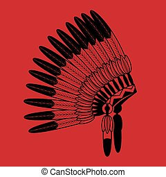 Indian feathers war bonnet - American Indian feathers war...