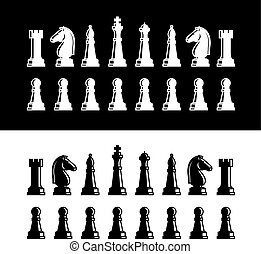 Chess pieces icons black silhouettes Chess pieces vector...