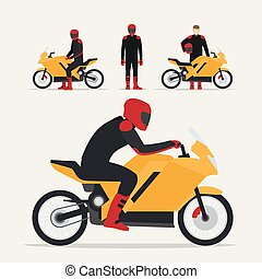 Biker with motorcycle in different poses flat vector...